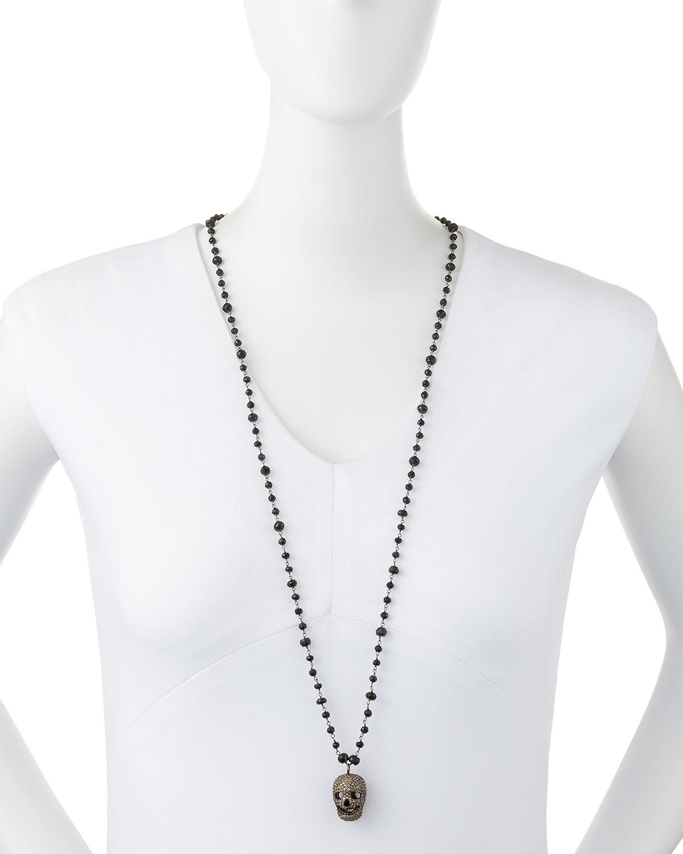 Bavna Pave Diamond Skull Pendant Necklace In Metallic Lyst