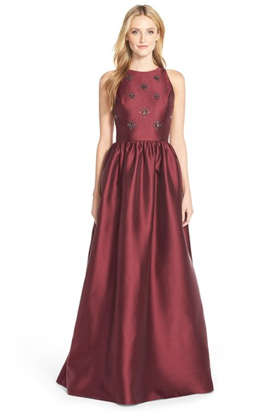 Adrianna Papell Beaded Mikado Ballgown In Red Lyst