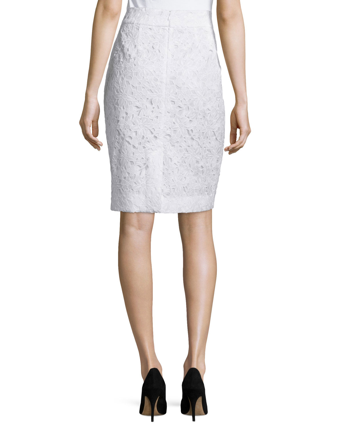 kate spade floral lace pencil skirt in white lyst