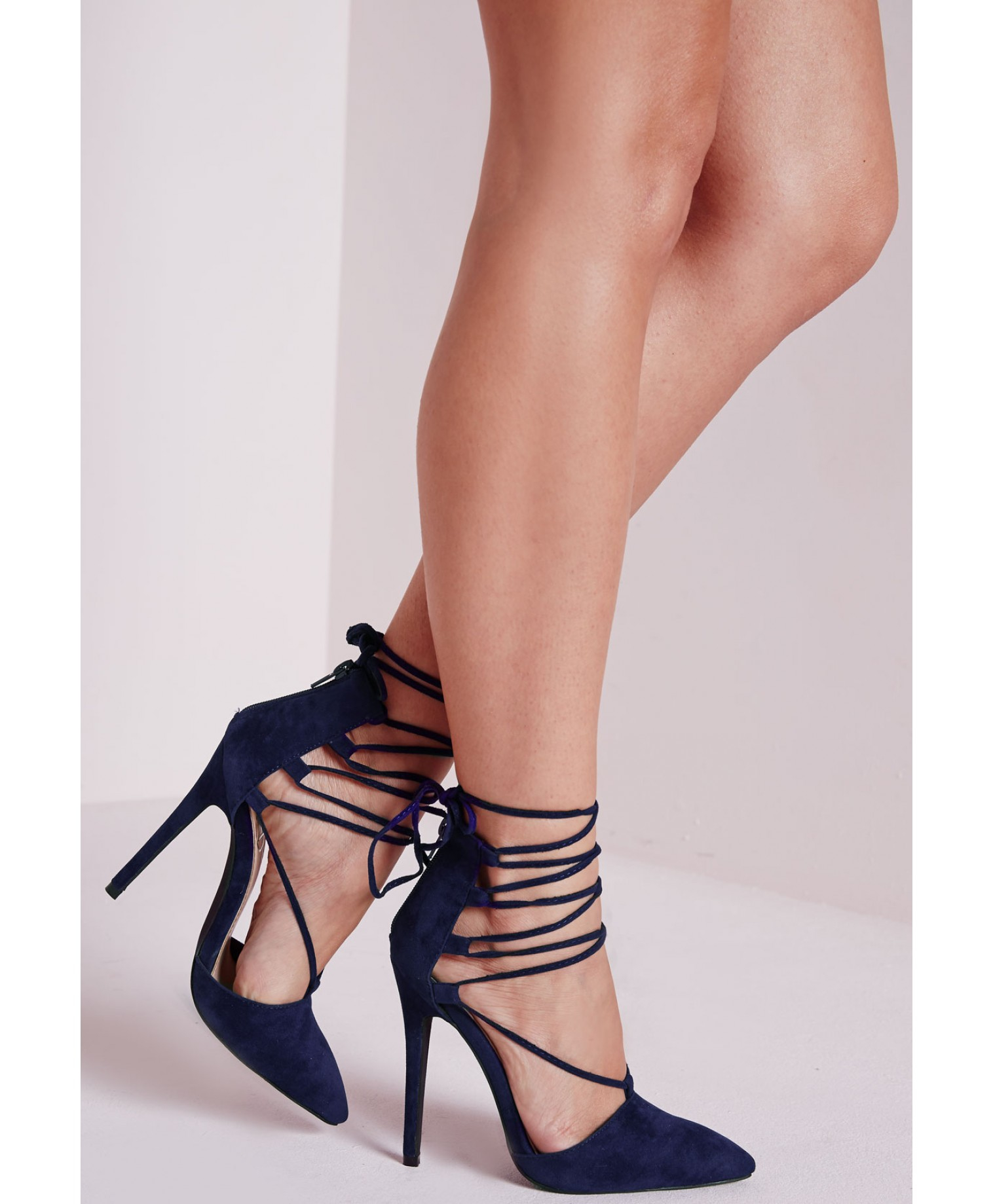 missguided lace up pointed toe court shoes cobalt blue in