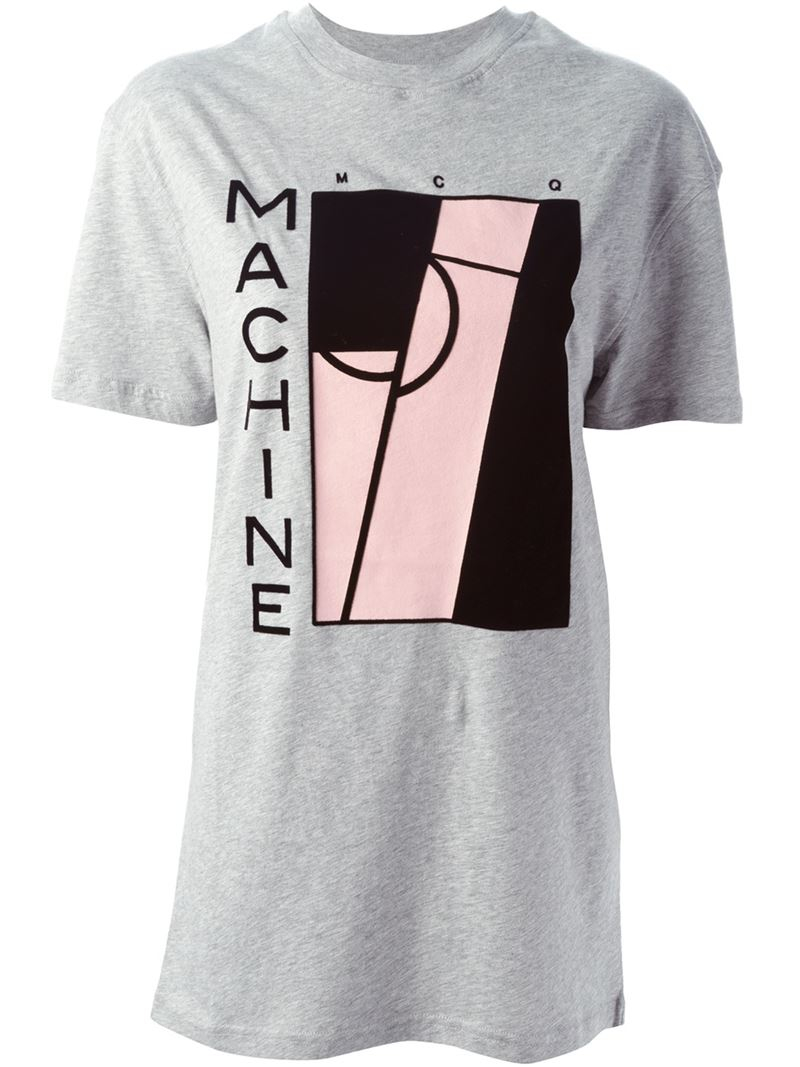Lyst mcq machine print t shirt in gray for Machine to print t shirts