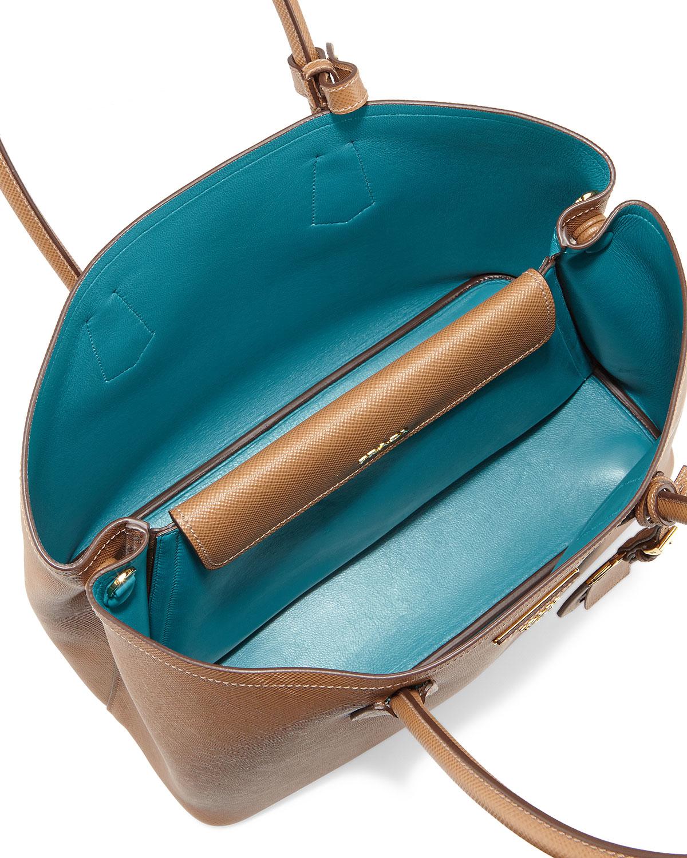 85c5a915463c37 ... usa lyst prada saffiano cuir medium double bag in brown 0321a 6e377