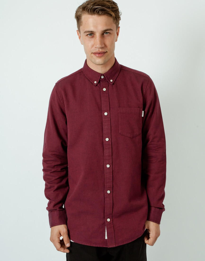 Carhartt wip long sleeve dalton button down oxford burgndy for Carhartt burgundy t shirt