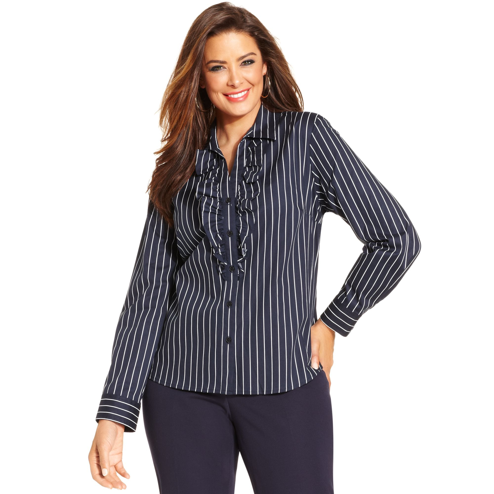 Lyst jones new york signature plus size longsleeve for New york and company dress shirts