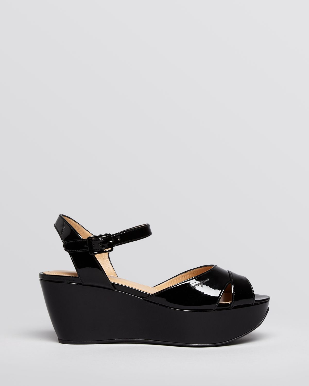 3eb9cf86bb04 Lyst - Ferragamo Peep Toe Platform Wedge Sandals My Sandal in Black