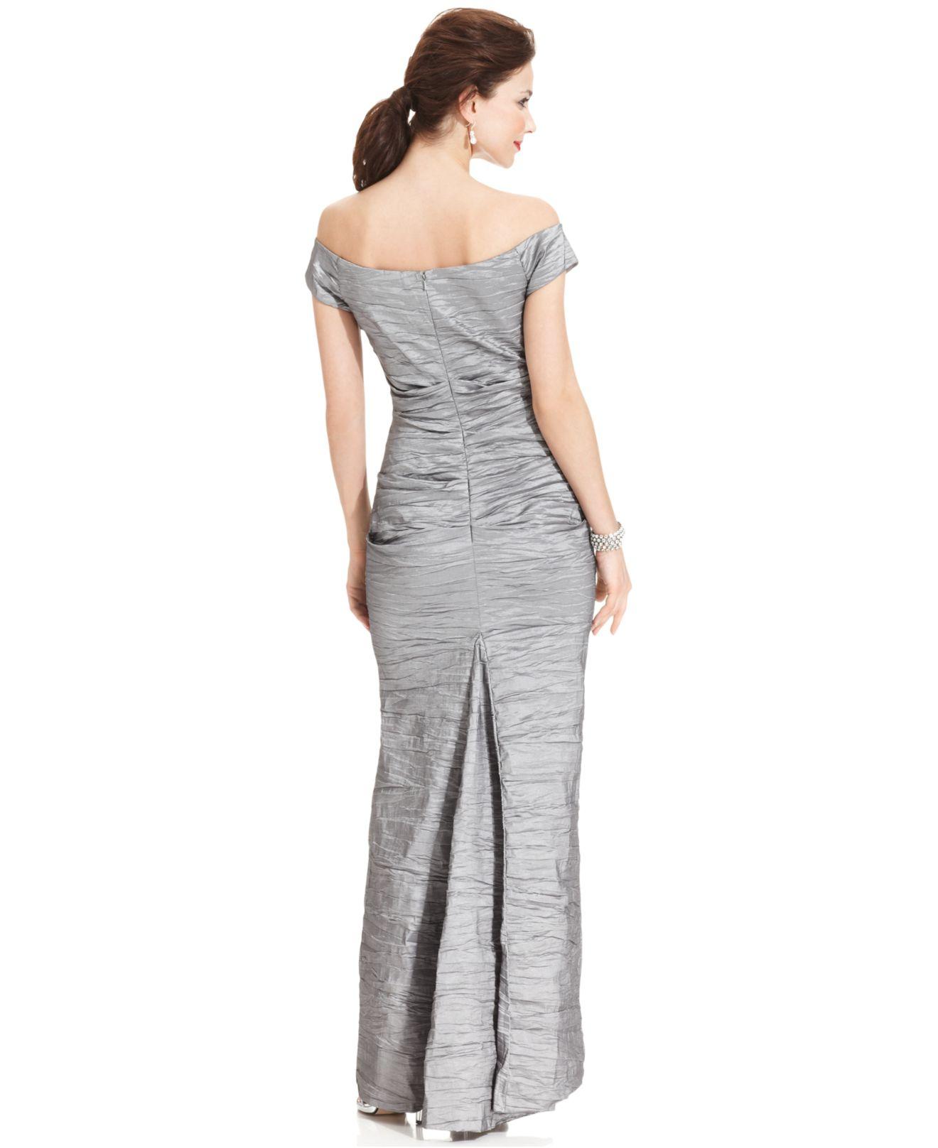 b3a095038e Lyst - Alex Evenings Off-the-shoulder Taffeta Evening Gown in Metallic