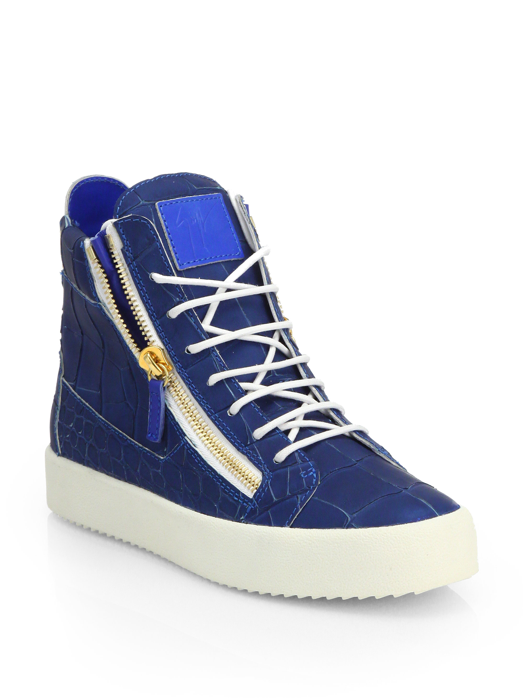 Giuseppe zanotti Croc-embossed Leather High-top Sneakers ...