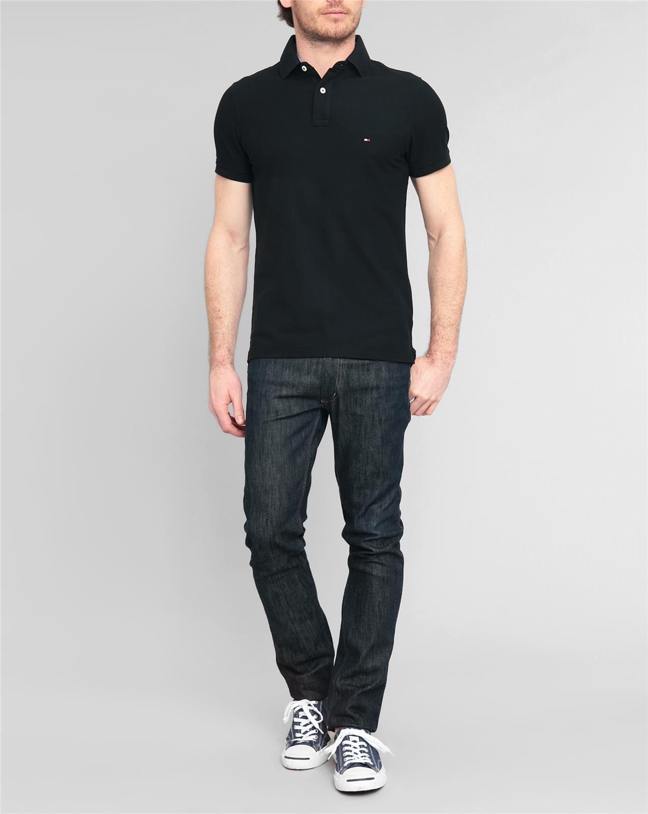tommy hilfiger black slim fit stretch piqu polo shirt in. Black Bedroom Furniture Sets. Home Design Ideas