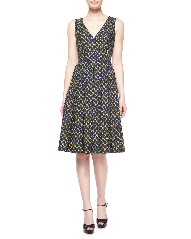 Michael Kors Sleeveless Paisley Fit-&-flare Dress