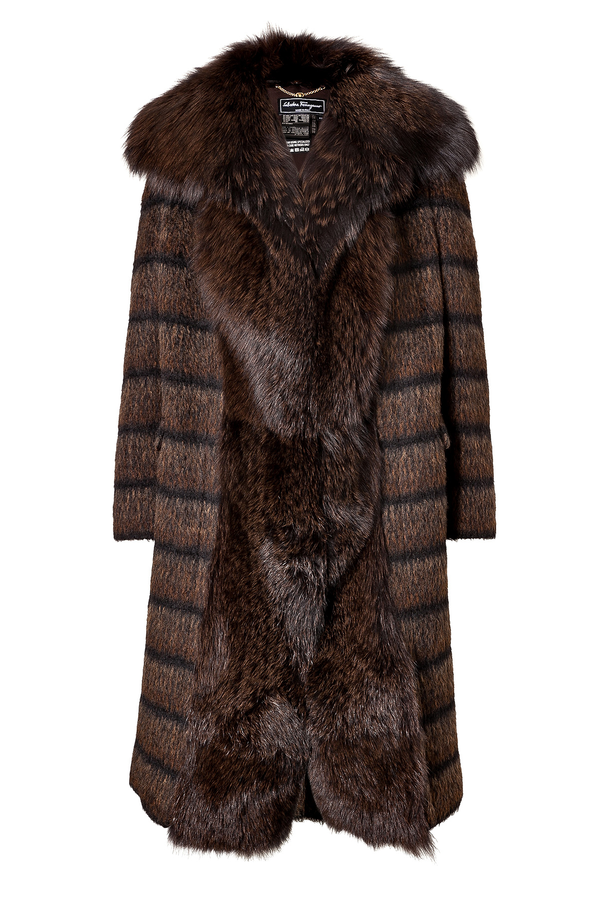 Ferragamo Wool Mohair Alpaca Coat With Fox Fur Front In