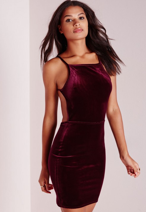 a483ddcde794 Lyst - Missguided Velvet Strappy Open Back Bodycon Dress Burgundy in ...