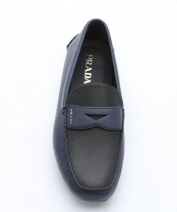 38cd652e9e4ed ... inexpensive lyst prada baltic and black saffiano moc toe penny driving  loafers in blue for men