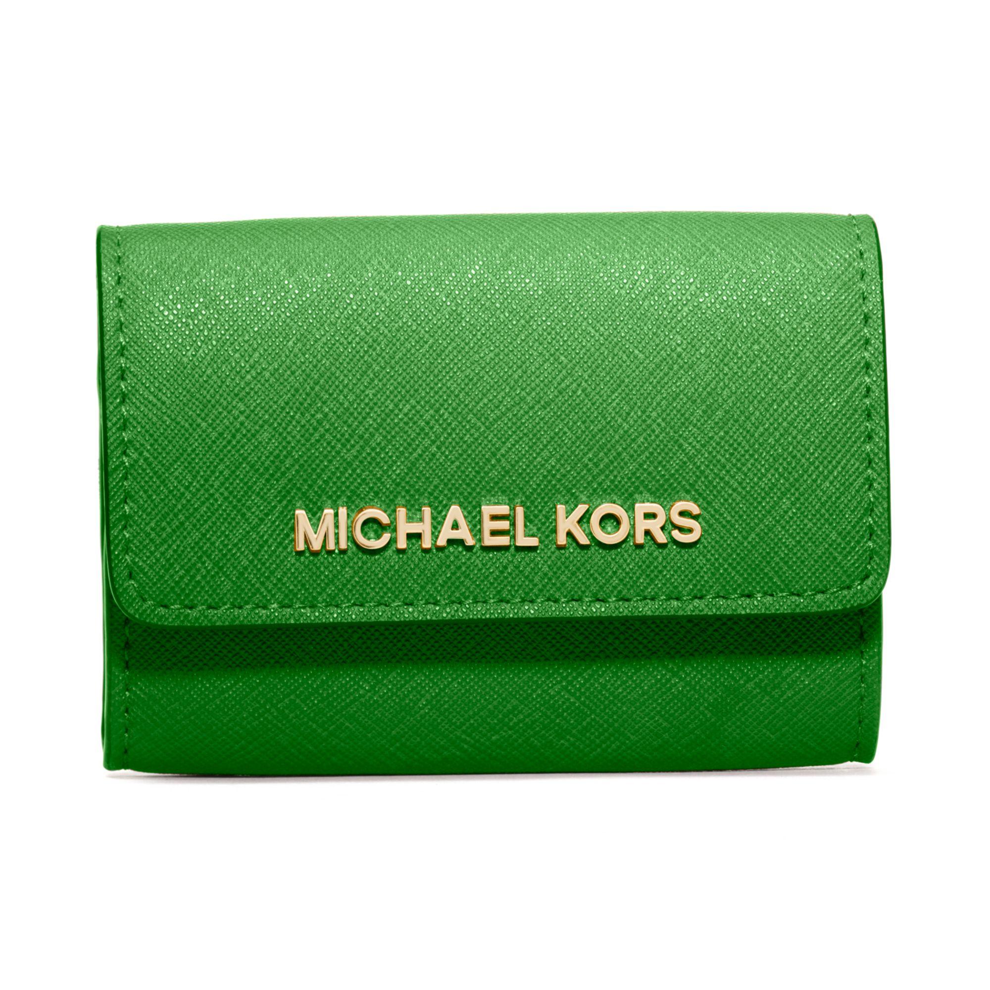 michael kors jet set travel coin purse in green palm lyst. Black Bedroom Furniture Sets. Home Design Ideas