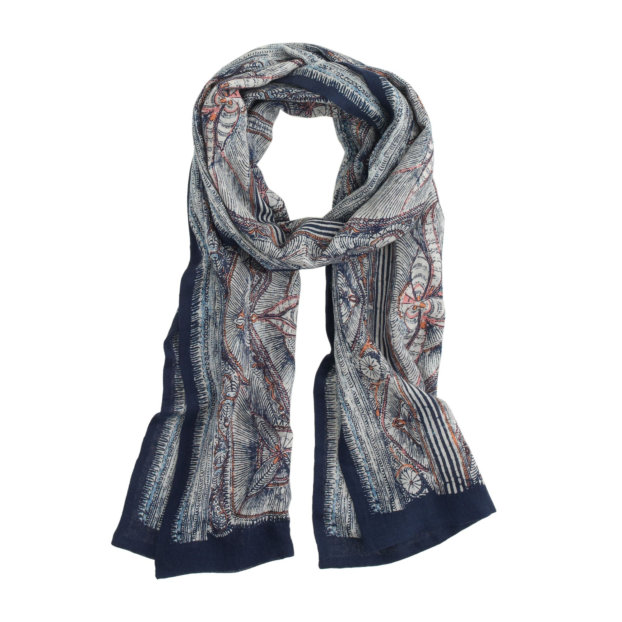 wool silk scarf in woodblock print for men lyst. Black Bedroom Furniture Sets. Home Design Ideas