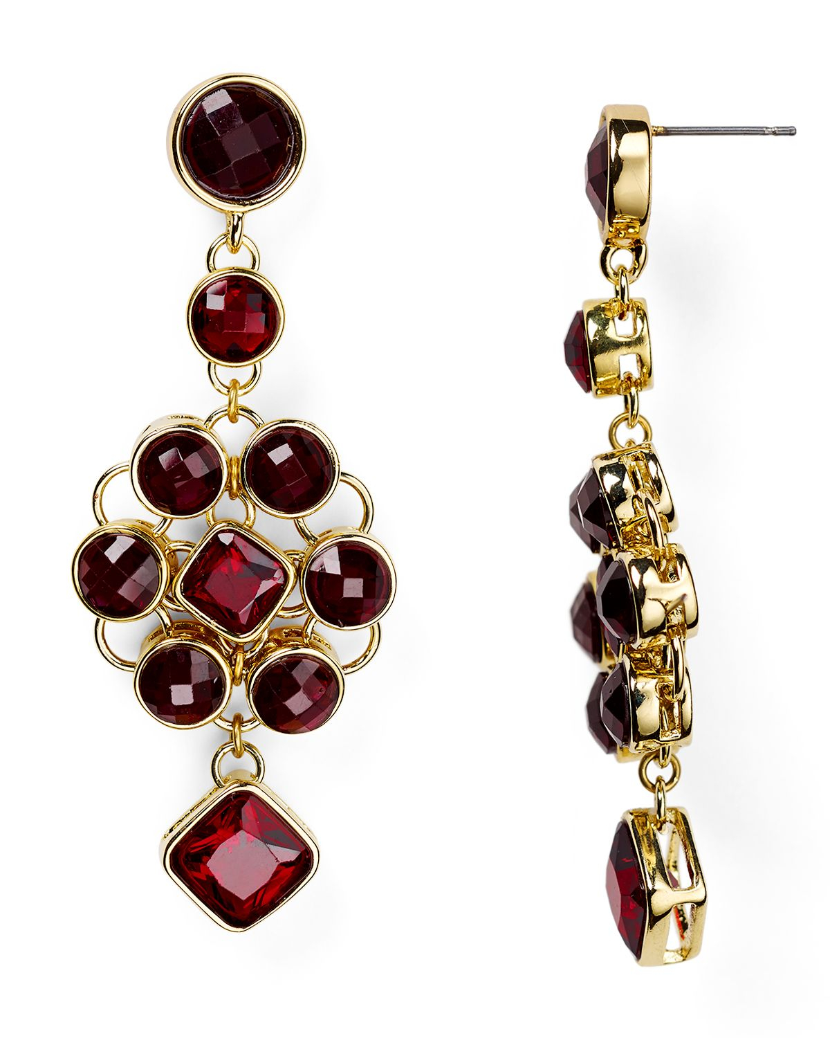 Red Chandelier Earrings: Carolee Berry Chic Chandelier Earrings In Red (Dark Red
