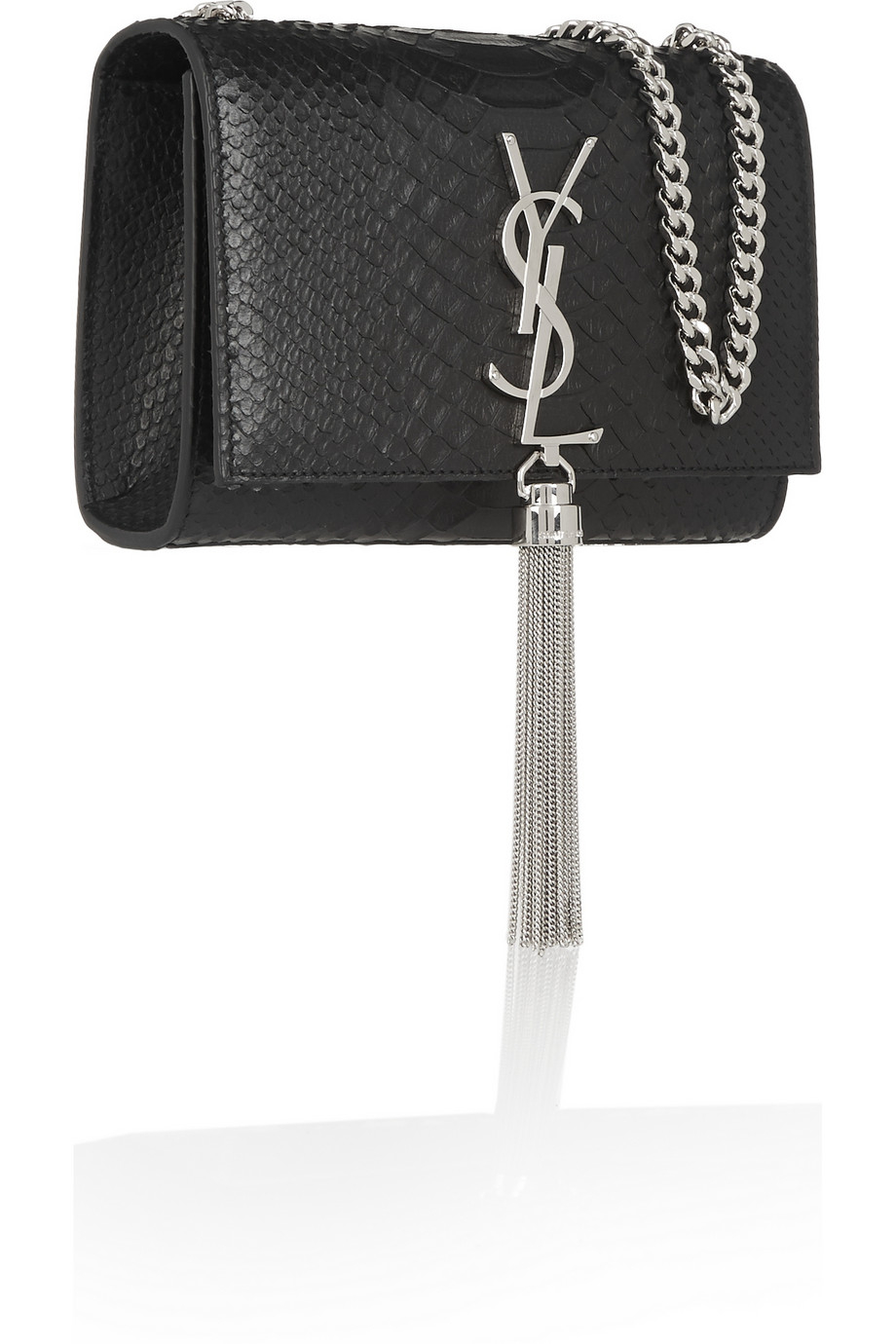 saint laurent monogramme small snake effect leather shoulder bag in black lyst. Black Bedroom Furniture Sets. Home Design Ideas