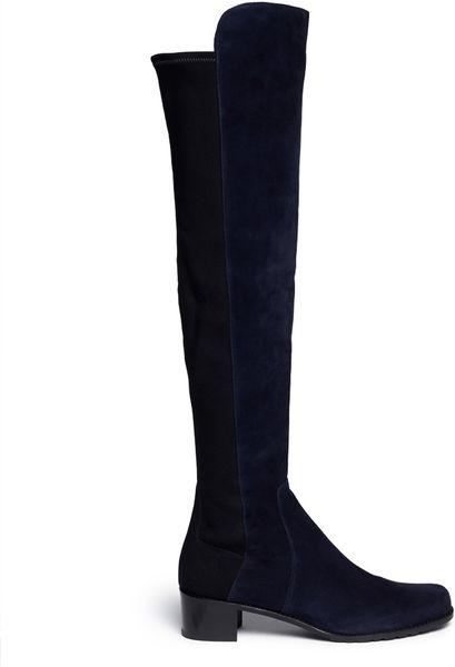 stuart weitzman reserve elastic back suede boots in blue