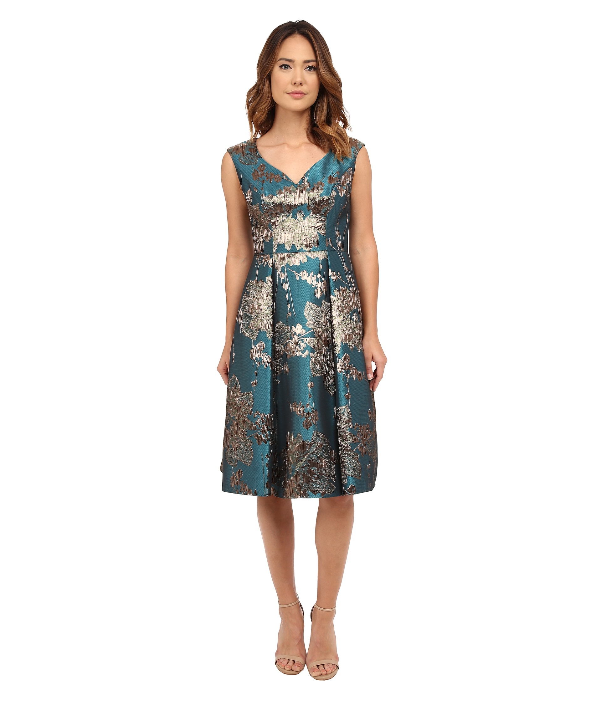 Lyst Adrianna Papell Mid Length Fit And Flare In Blue