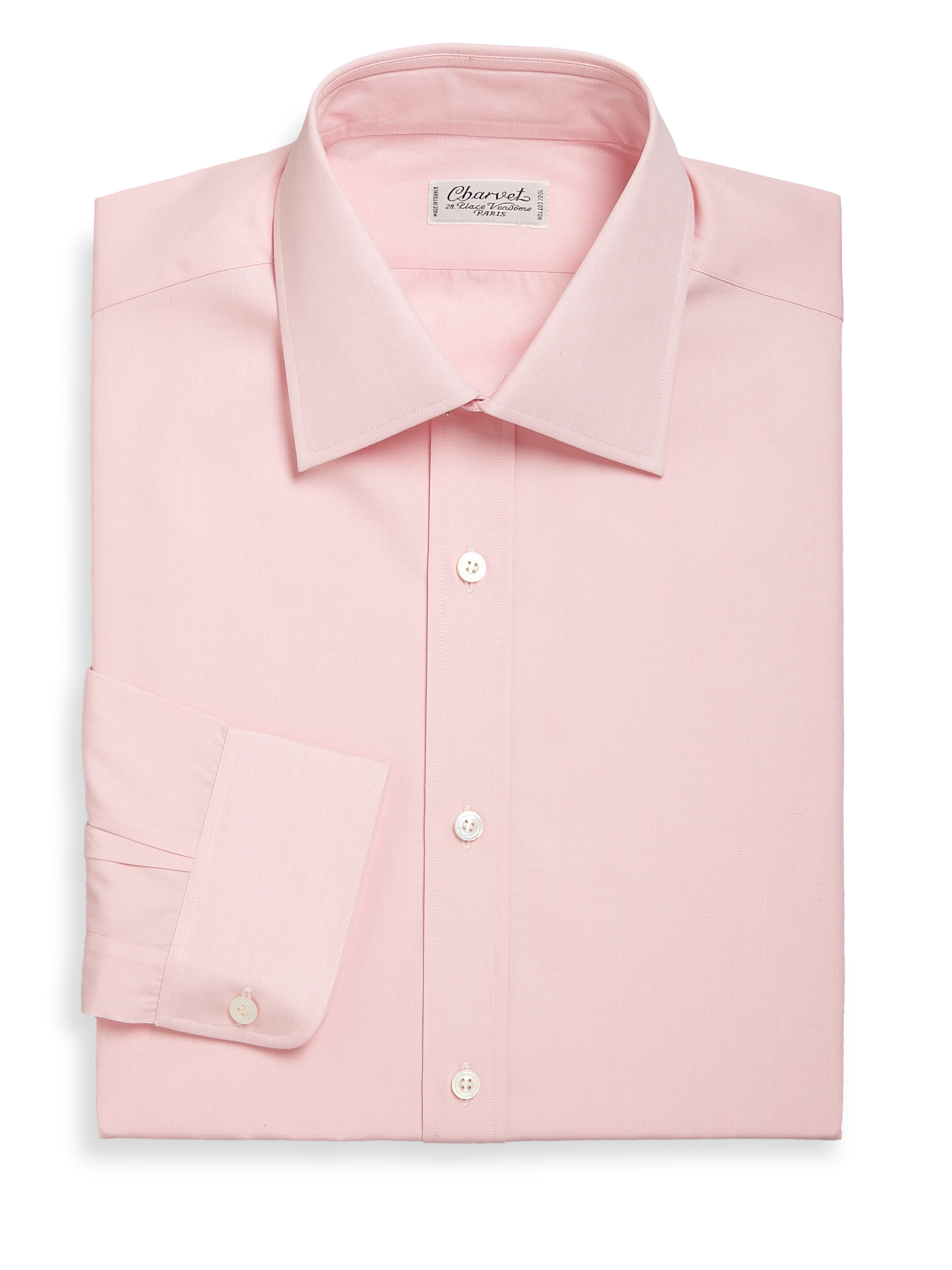 Charvet Solid Cotton Dress Shirt In Pink For Men Lyst