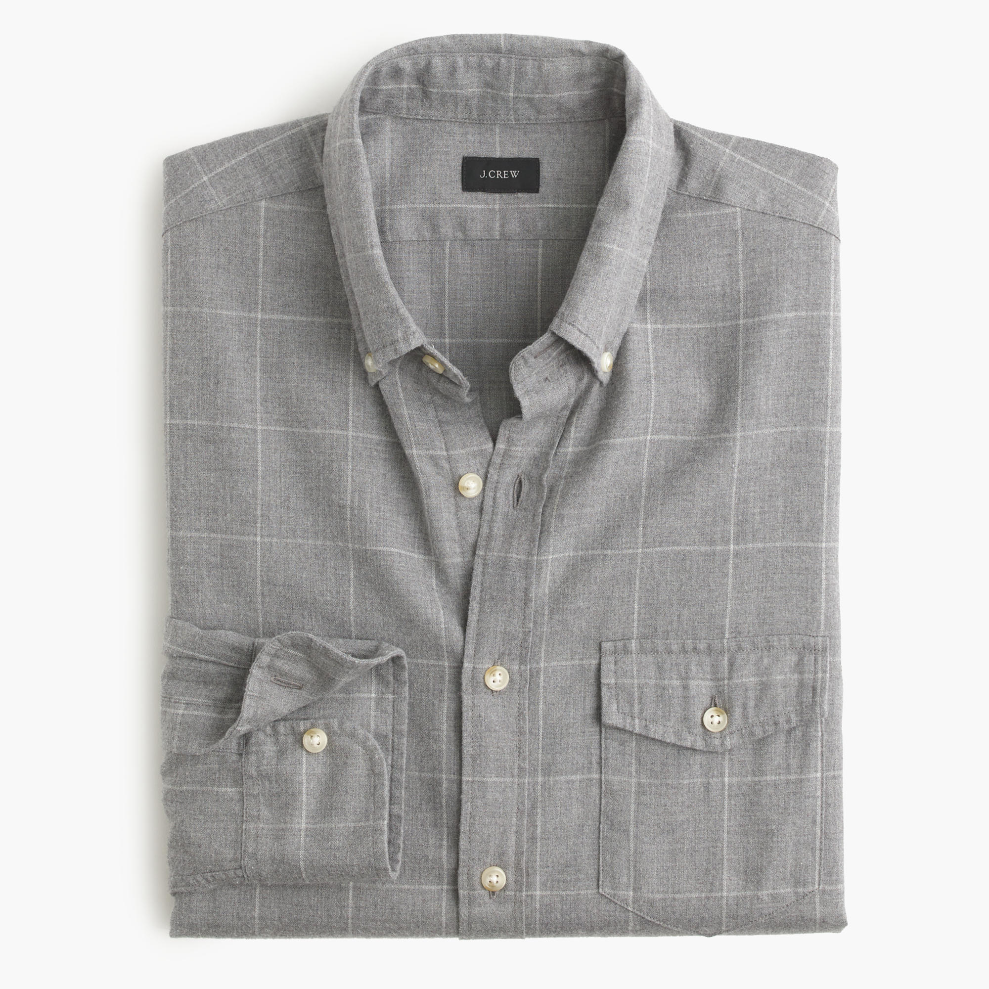 Slim Brushed Twill Shirt In Windowpane In Gray For