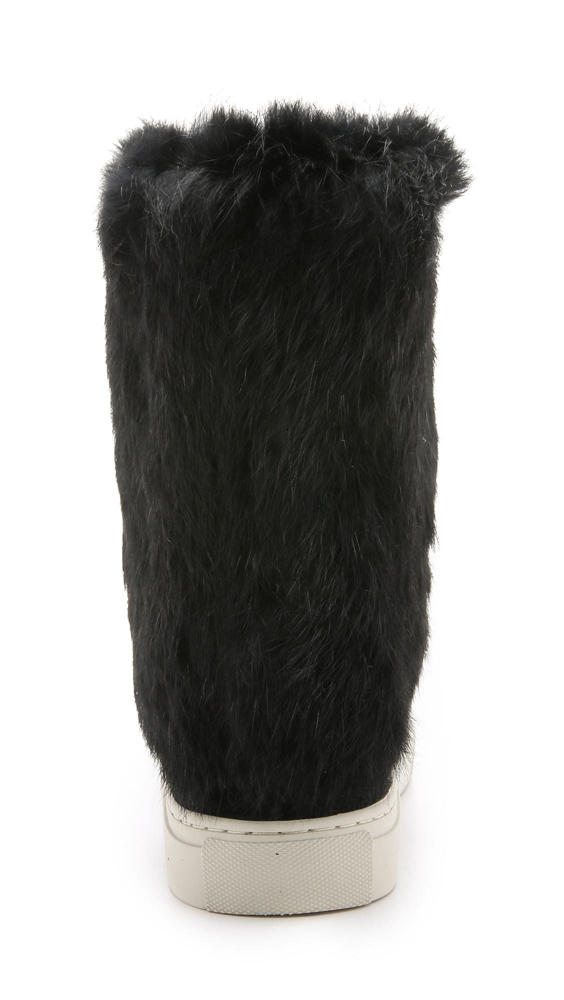burch anjelica suede fur boots black black in white