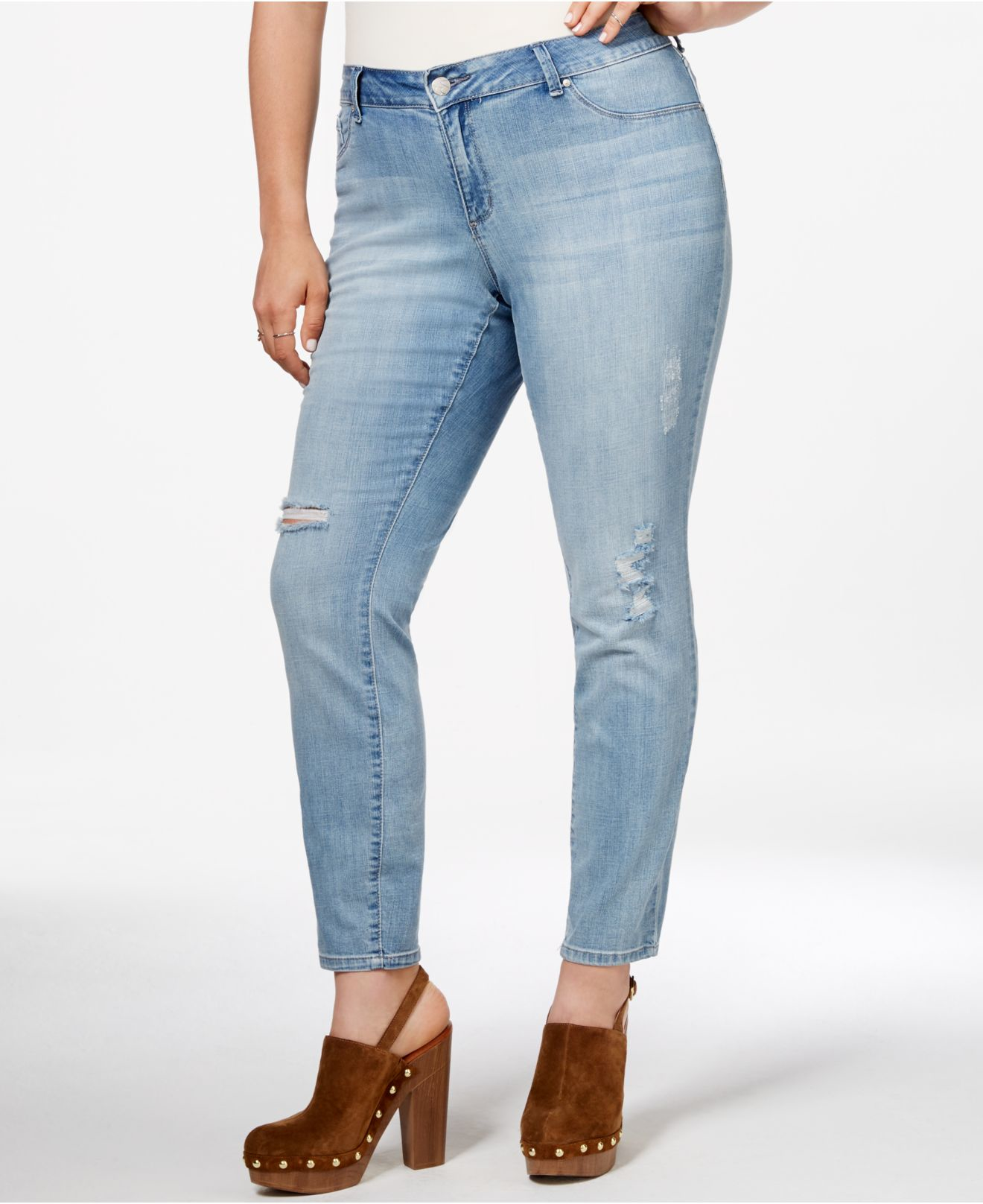 Jessica simpson Plus Size Cropped Ripped Jeans in Blue | Lyst