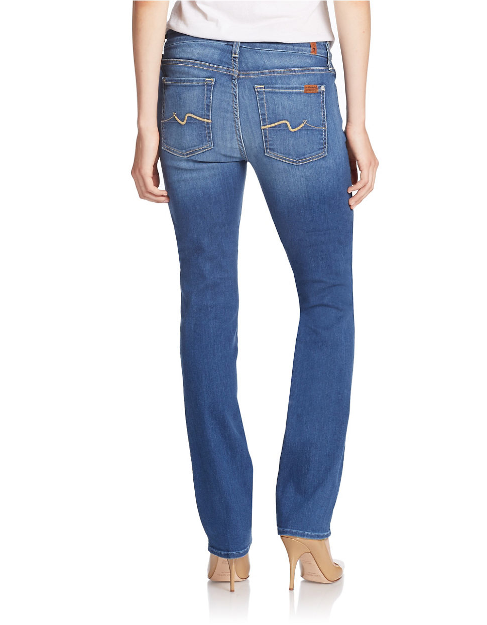 lyst 7 for all mankind fitted straight leg jeans in blue. Black Bedroom Furniture Sets. Home Design Ideas