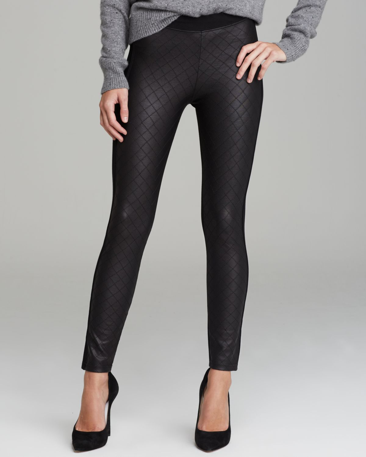 Tag Elemental Quilted Pleather Front Leggings In Black Lyst
