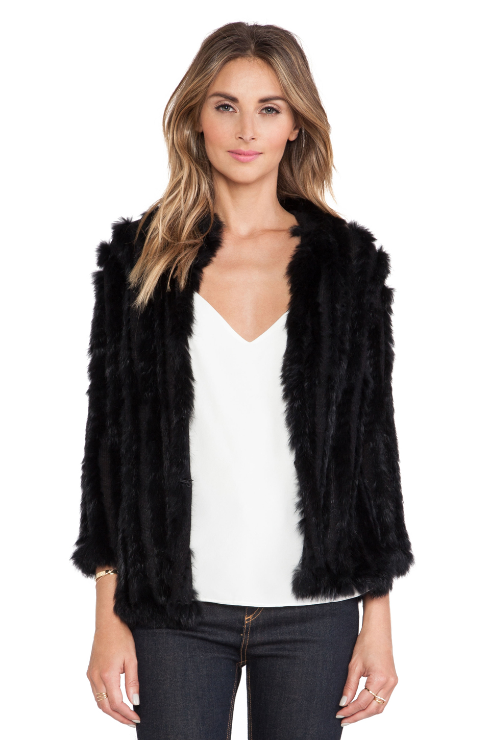 Lyst heartloom rosa rabbit fur jacket in black for Rosa klebefolie fur mobel