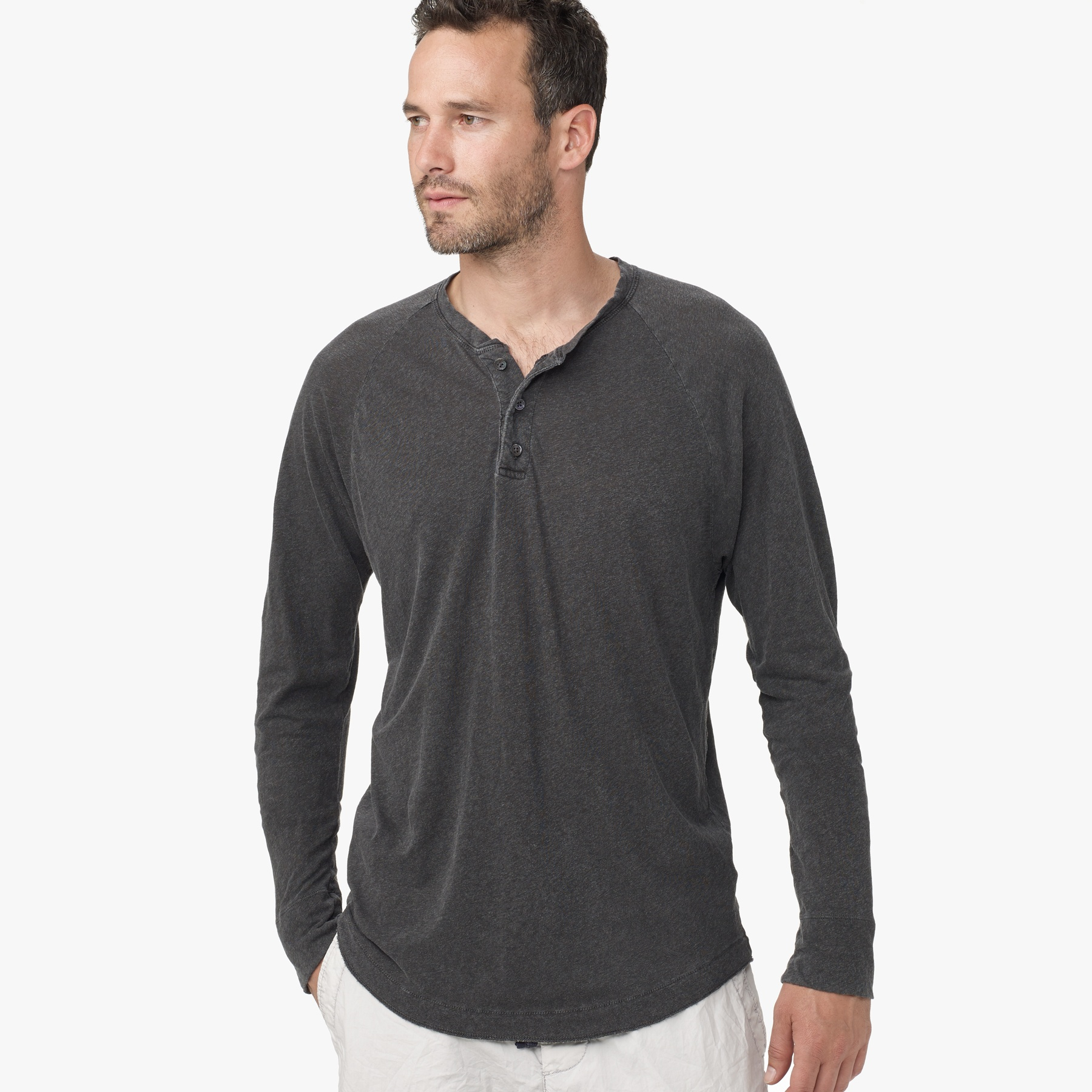 Lyst James Perse Linen Cotton Raglan Henley In Gray For Men