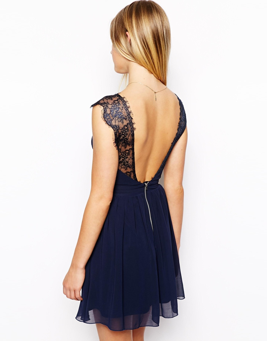 Lyst - ASOS Petite Exclusive Eyelash Lace Skater Dress in Blue 1d0195e4a