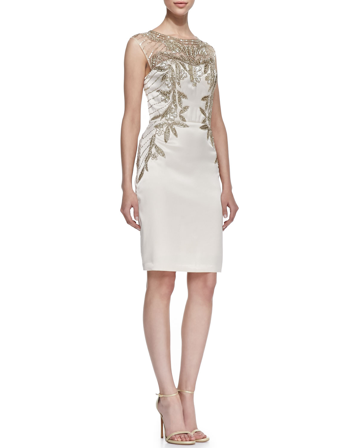 Sue Wong Sequined Bodice Cocktail Dress In White