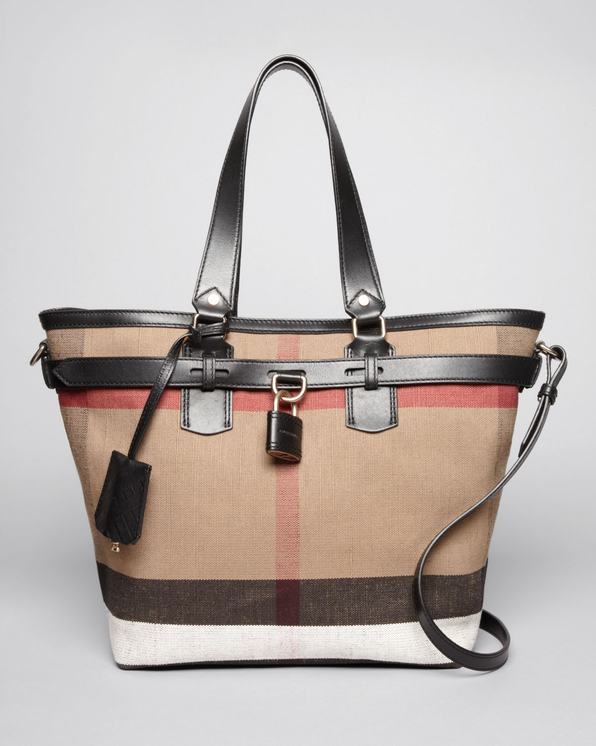 Burberry brit Tote Canvas Check Medium Traveler in Brown | Lyst
