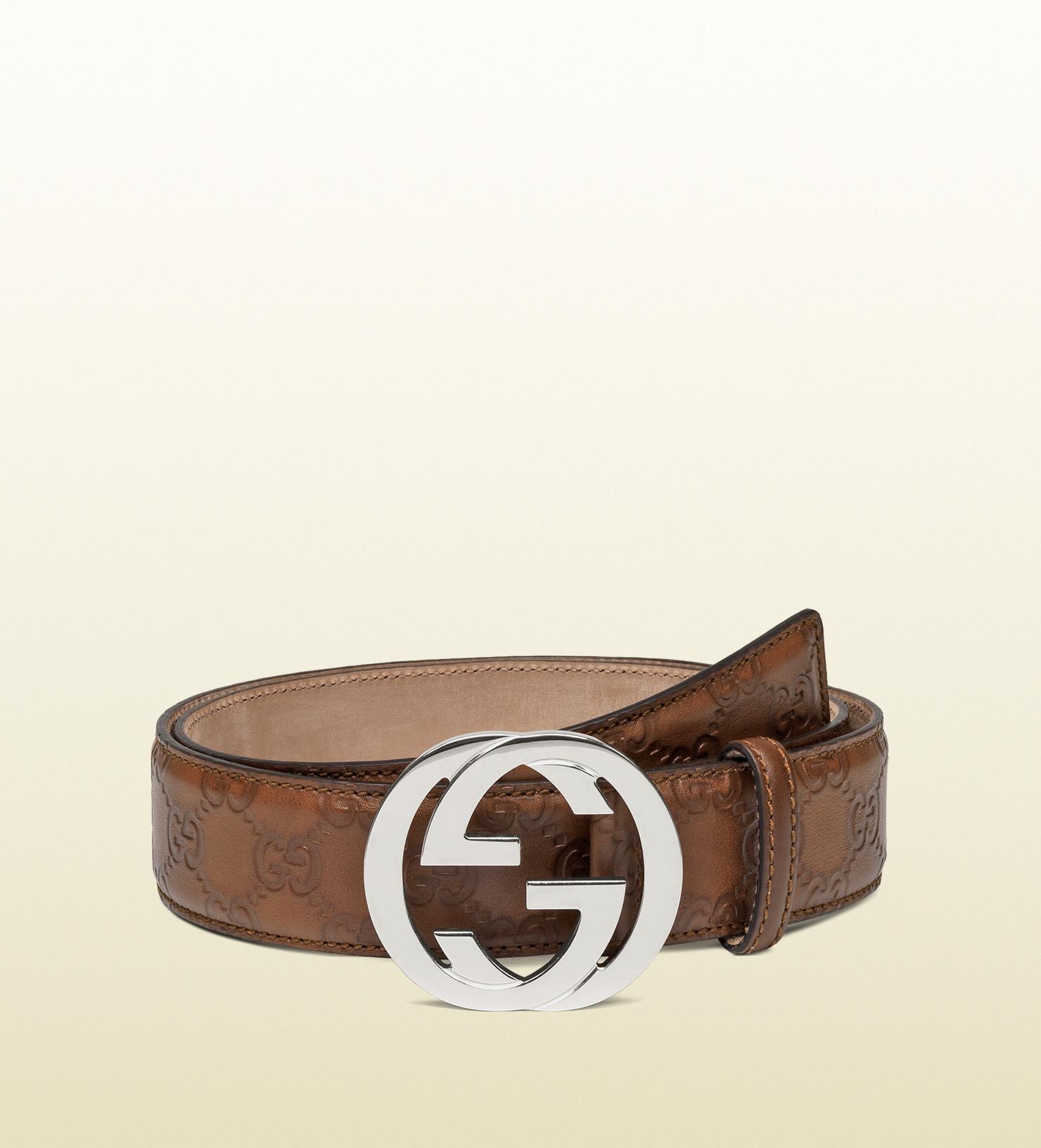 Lyst Gucci Belt With Interlocking G Buckle In Brown For Men