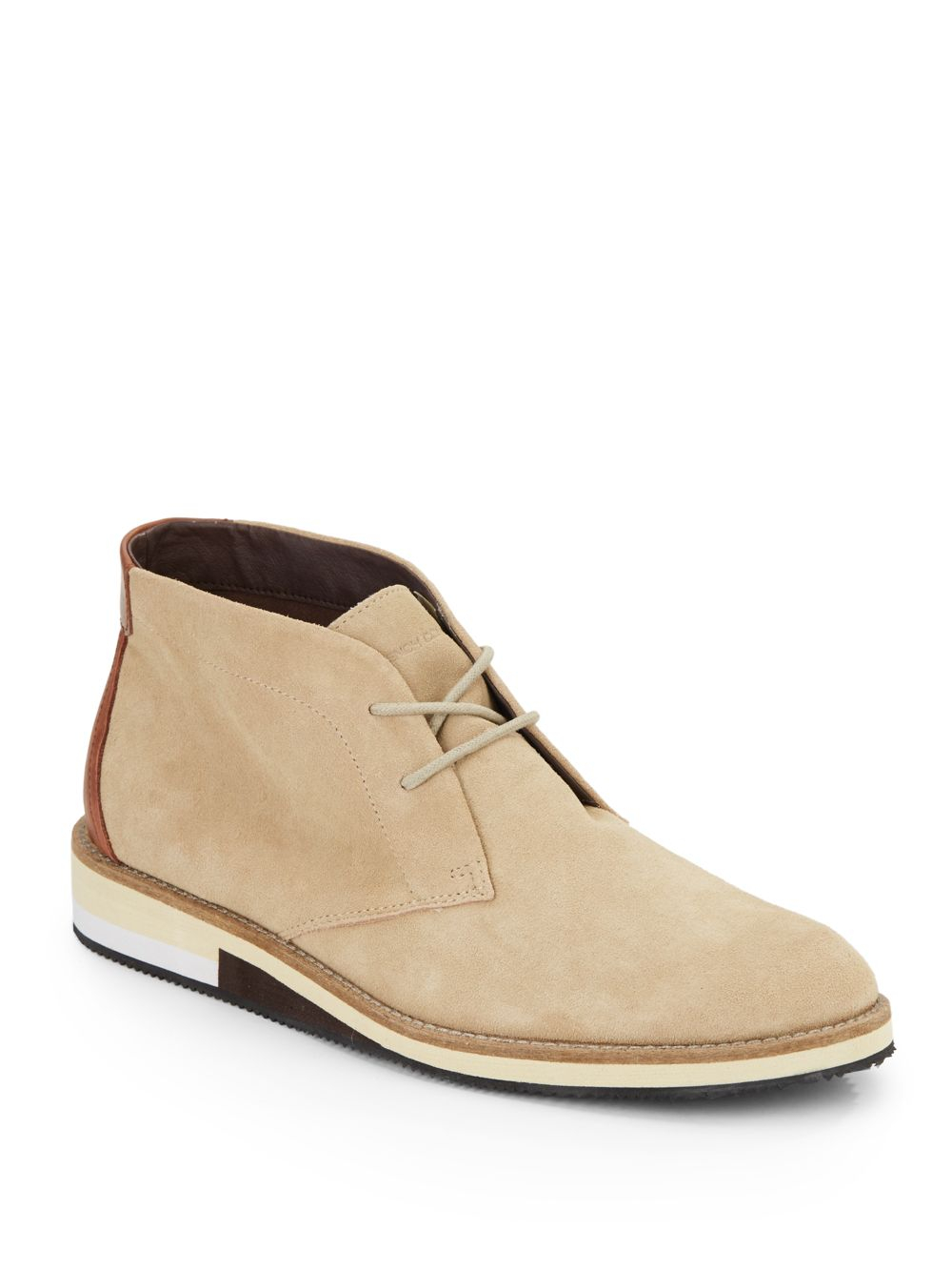 French connection Corian Suede Chukka Boots in Natural for Men | Lyst