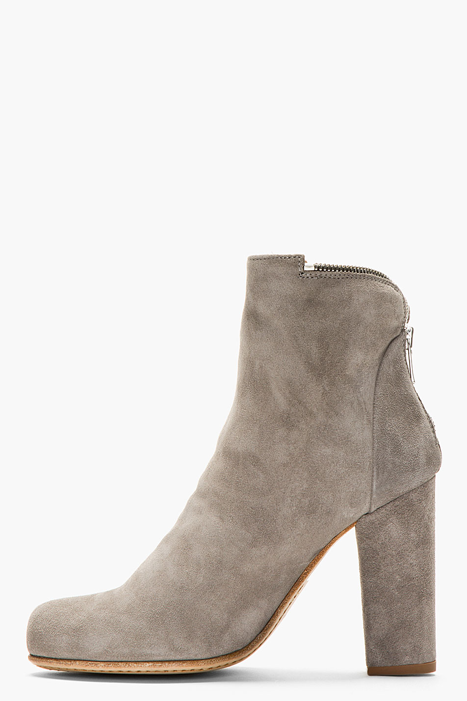 officine creative grey suede zippered ankle boots in gray