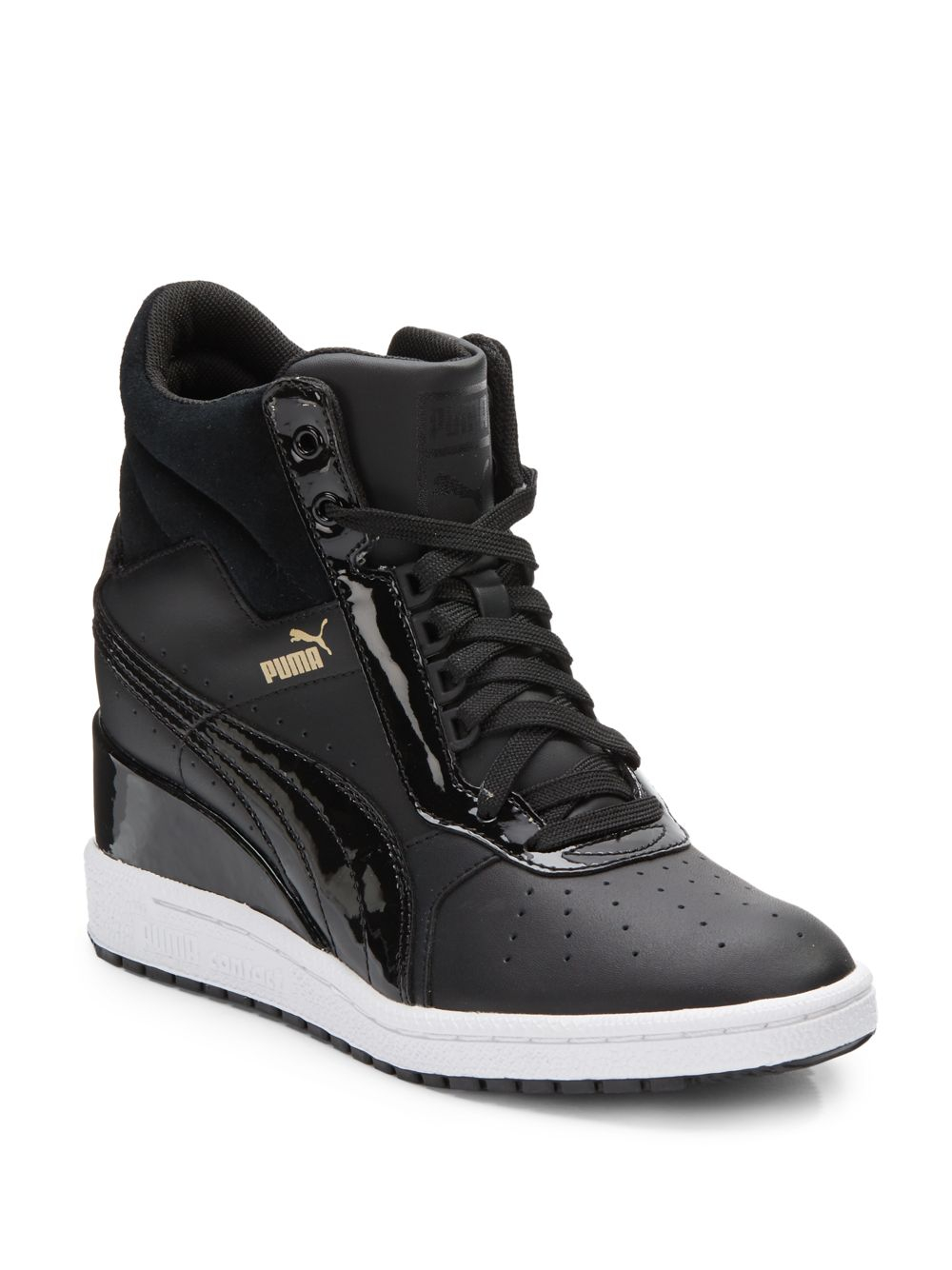 a4461e5a2b0d Lyst - PUMA Advantage Leather Wedge Sneakers in Black