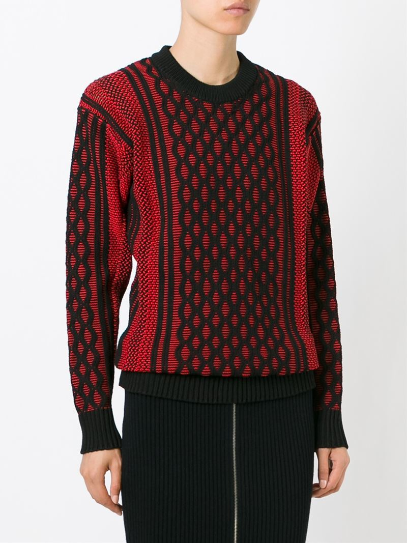 T by alexander wang Cable Knit Honeycomb Pattern Sweater in Black Lyst