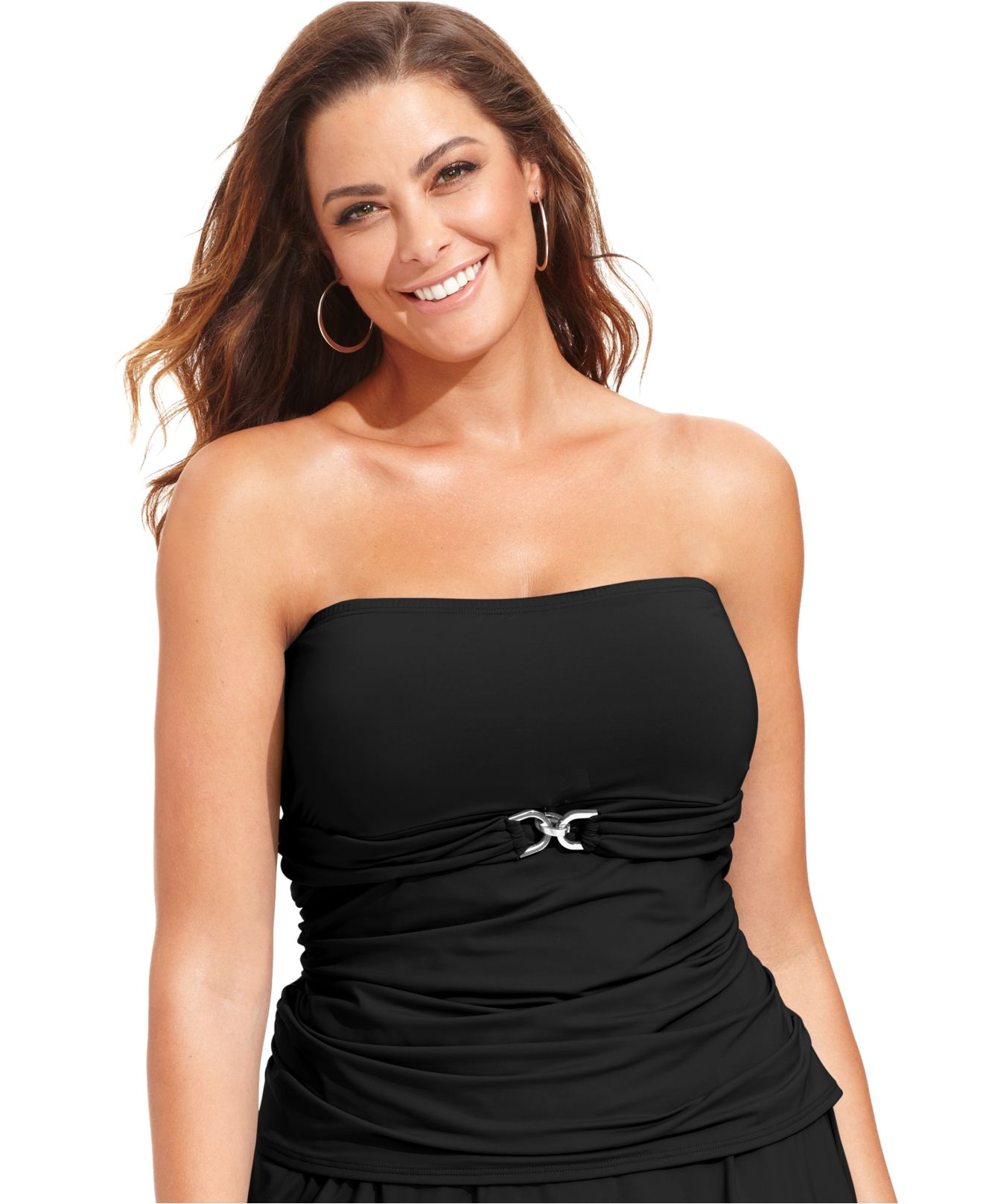 michael kors michael plus size hardware bandeau tankini top in black lyst. Black Bedroom Furniture Sets. Home Design Ideas
