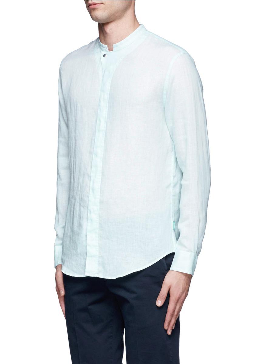 Armani Mandarin Collar Shirt In Blue For Men Lyst