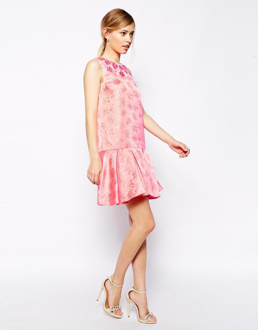 Lyst Asos Embellished Peplum Hem Dress In Pink
