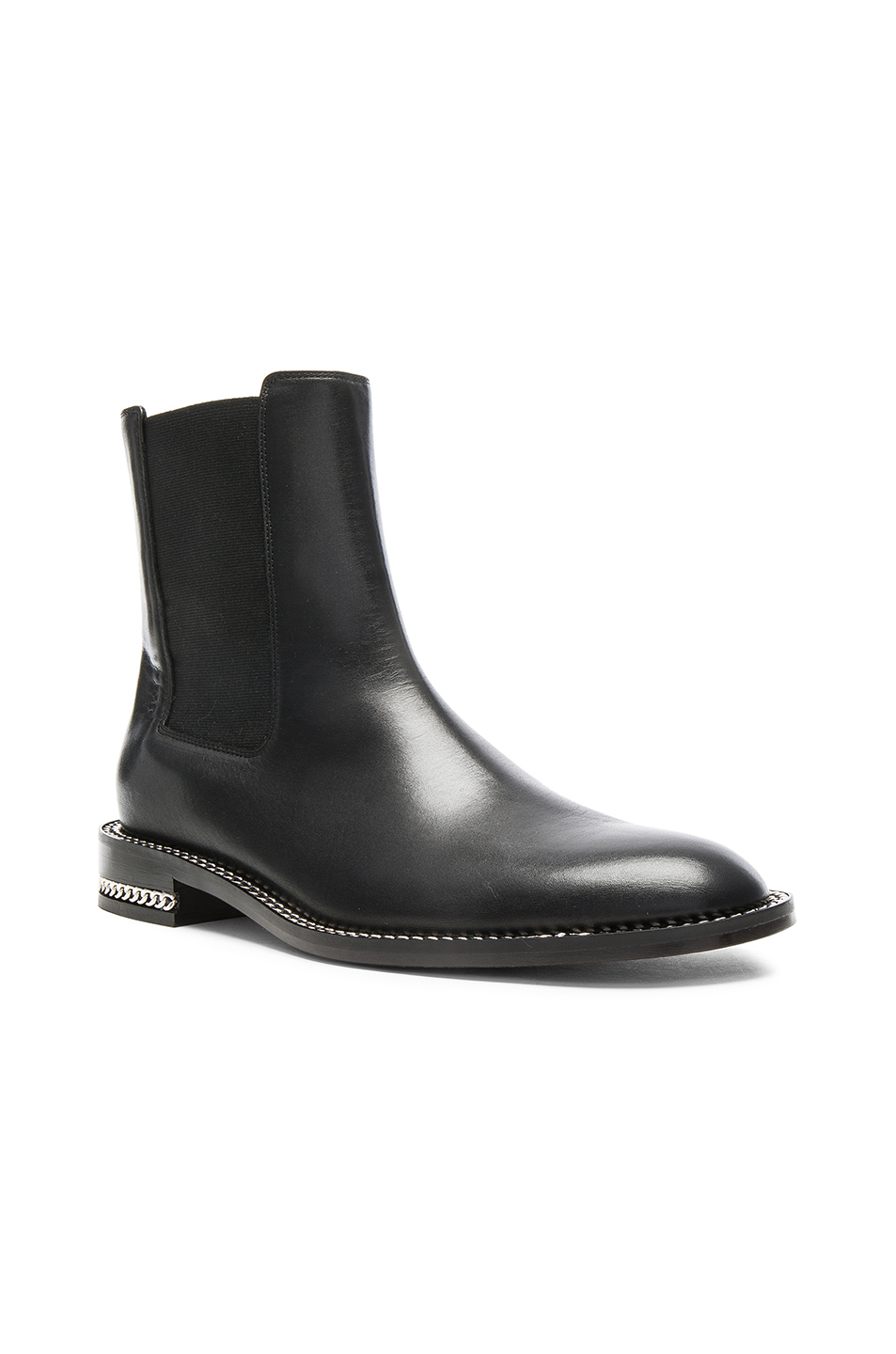 Flat Black Leather Ankle Boots - Cr Boot