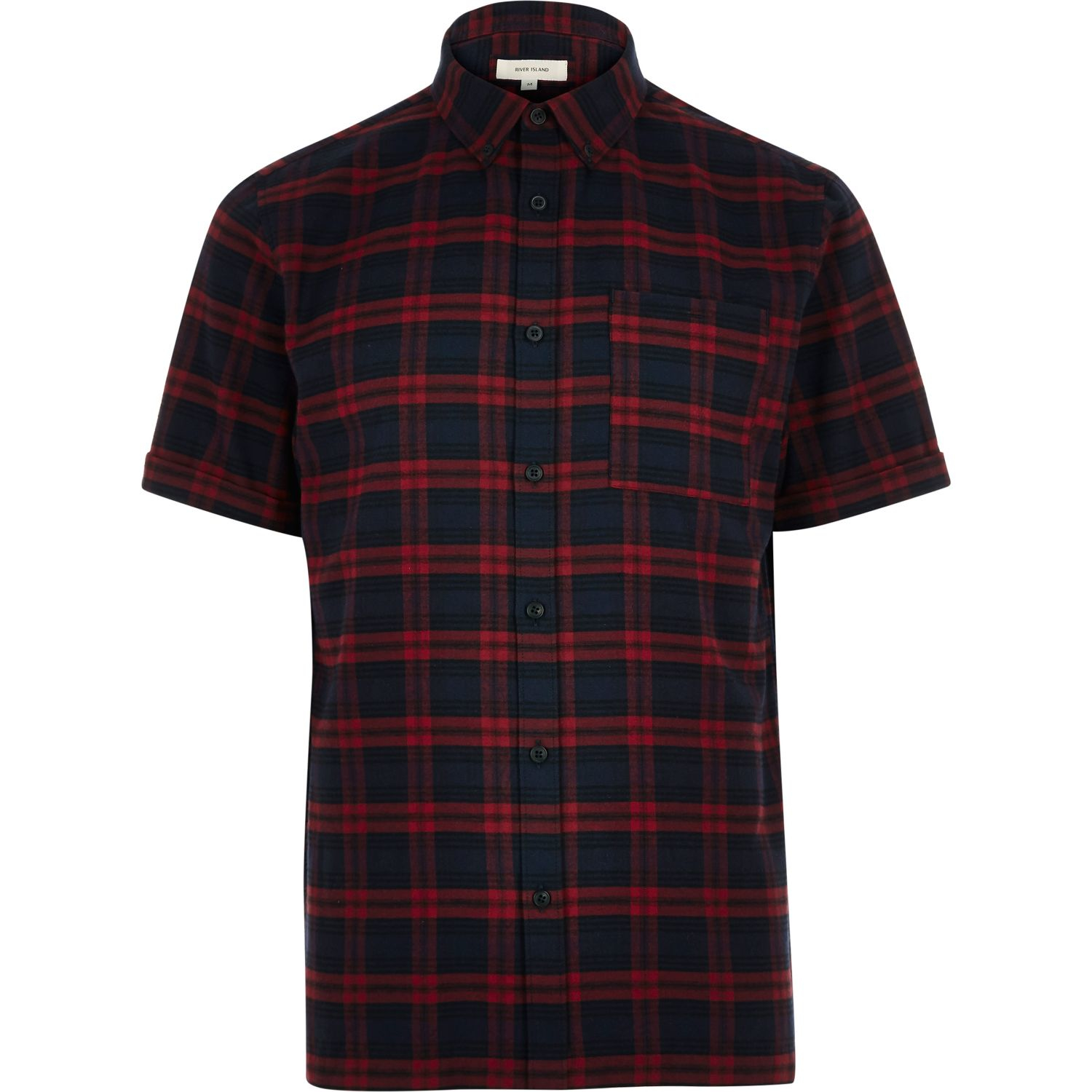 Lyst River Island Navy Check Flannel Short Sleeve Shirt In Blue
