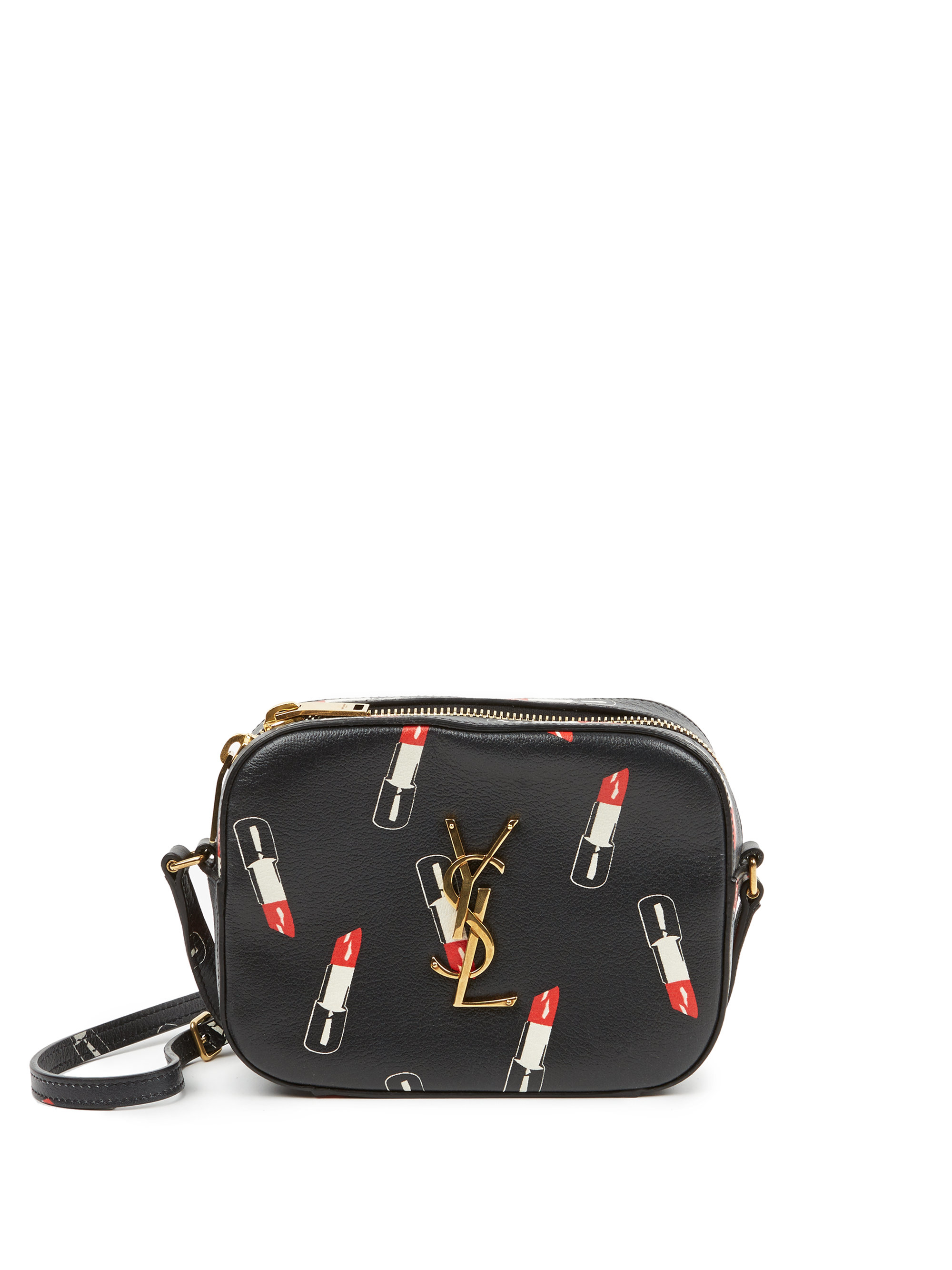 cabas chyc large leather tote - monogram lipstick-print leather pouch, black
