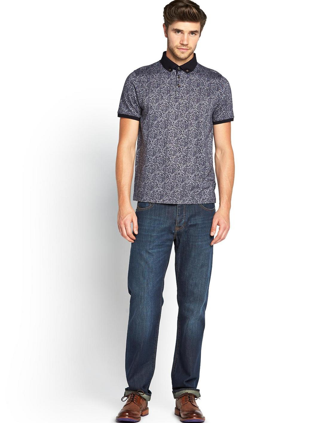 Ted baker mens paisley print polo shirt in blue for men for Ted baker mens polo shirts