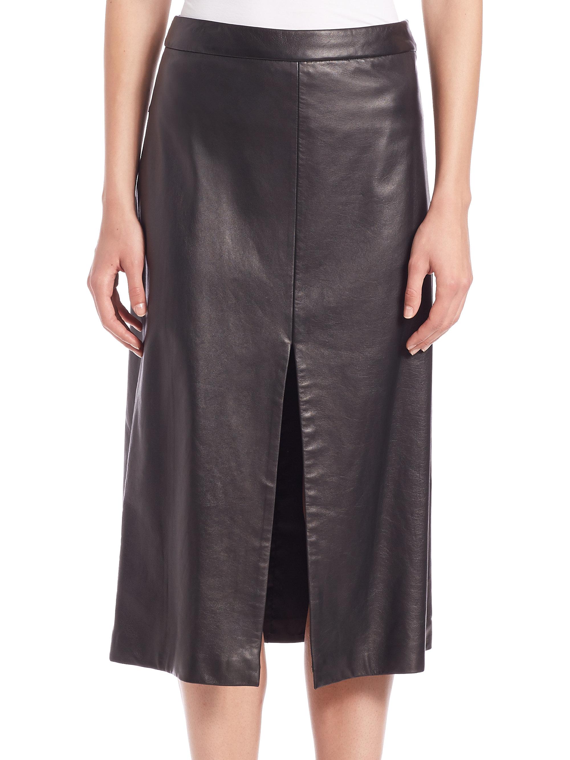 tess giberson leather slit skirt in black lyst