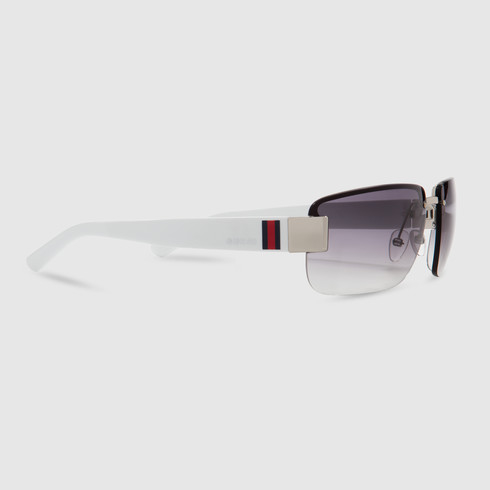 6b243734fef Lyst - Gucci Medium Rimless Sunglasses in White