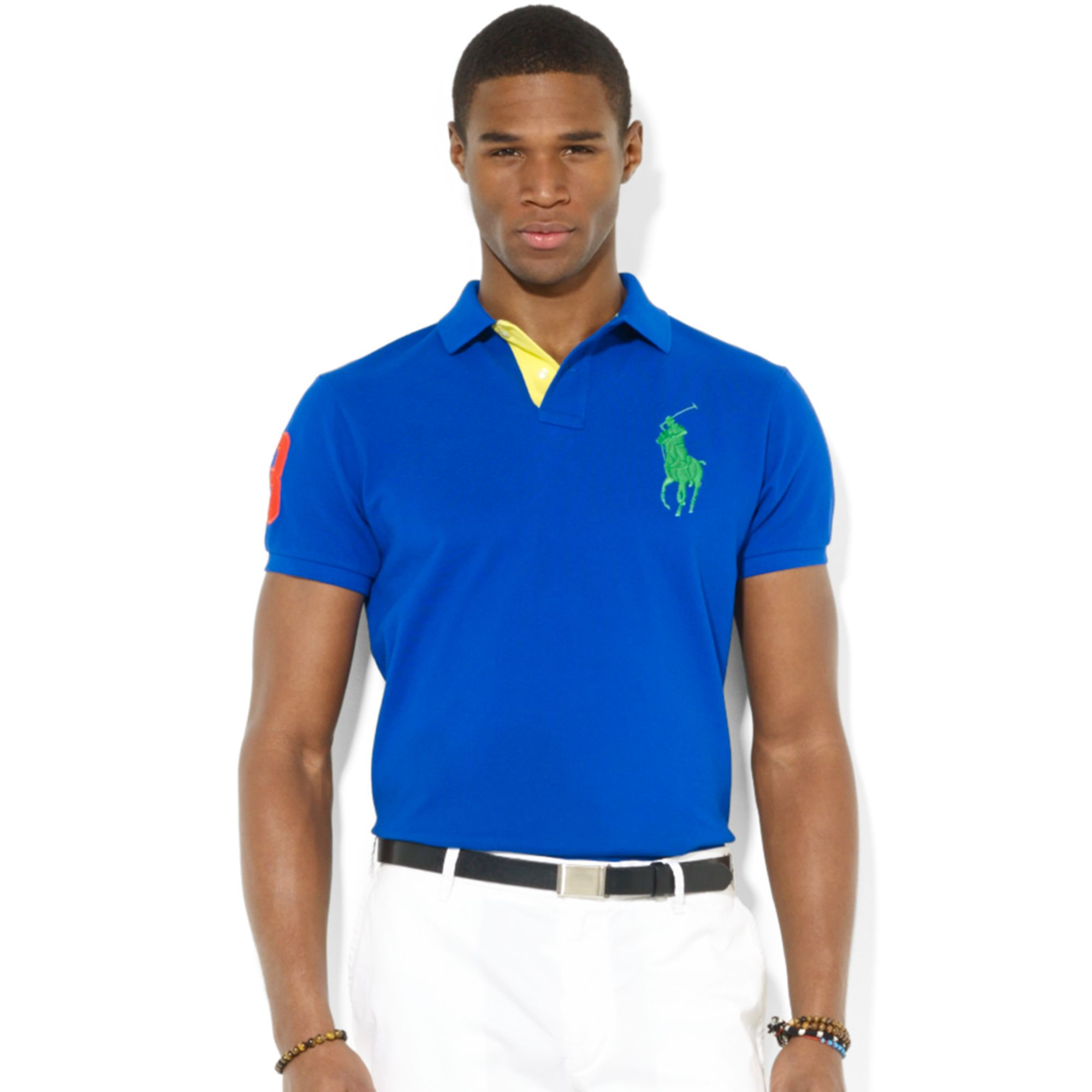 Ralph Lauren Polo Custom Fit Big Pony Mesh Polo In Blue