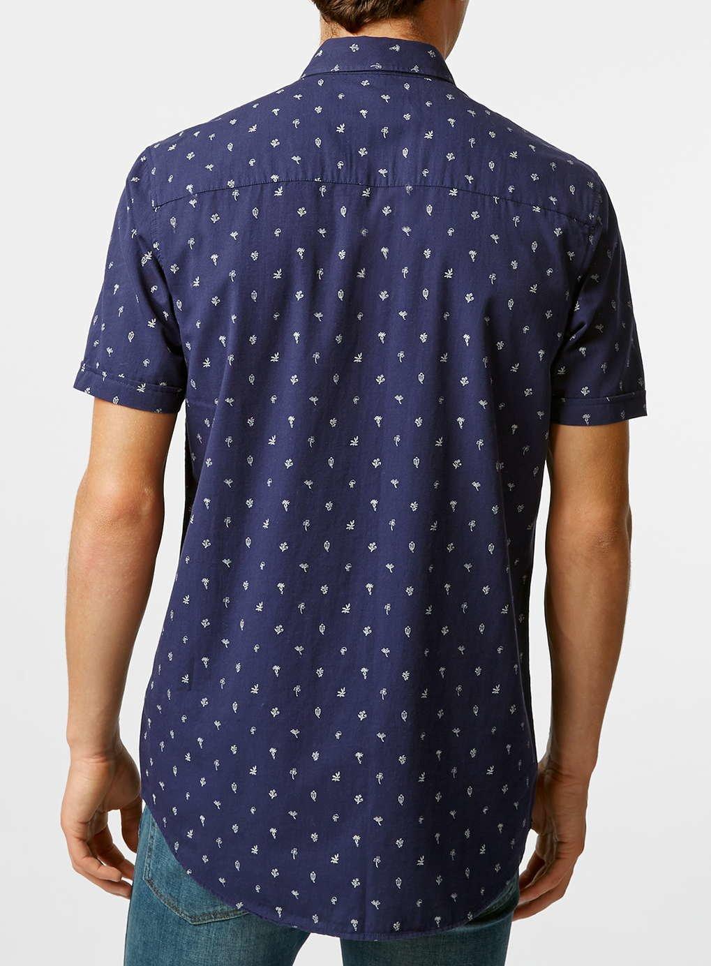 Topman slim fit short sleeve fish print shirt in blue for for Fish print shirt