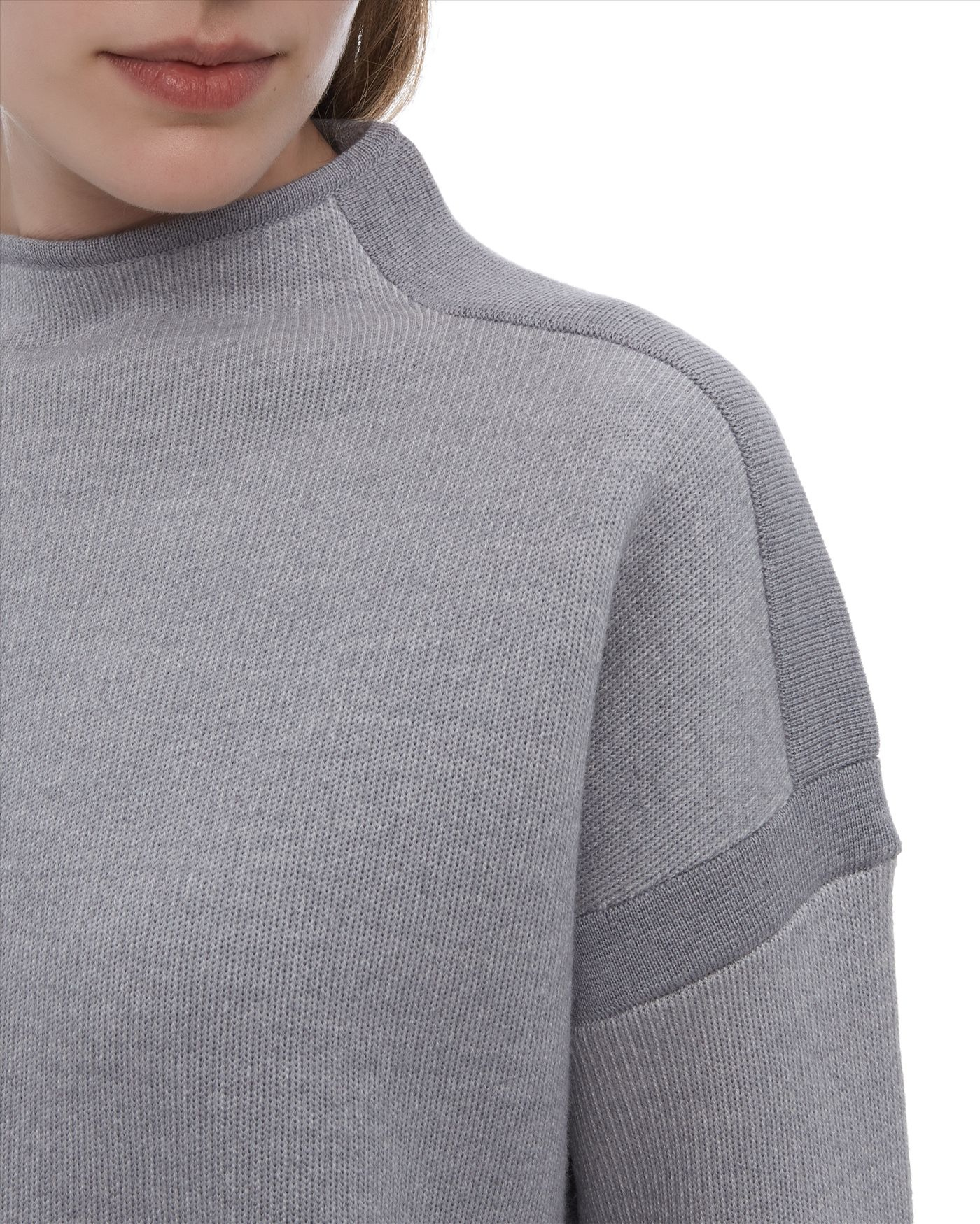 flat top haircut lyst jaeger wool loop back sweater in gray 9438
